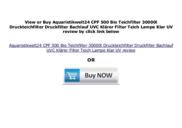 Aquaristikwelt24 CPF 500 Bio Teichfilter 30000l Druckteichfilter Druckfilter Bachlauf UVC Kl/ärer Filter Teich Lampe Klar UV