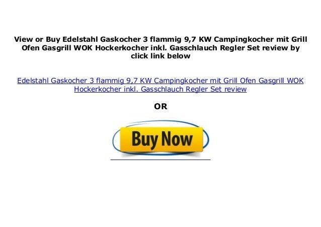 Edelstahl Gaskocher mit Grill 3 flammig 9,7 KW Campingkocher Ofen Gasgrill WOK