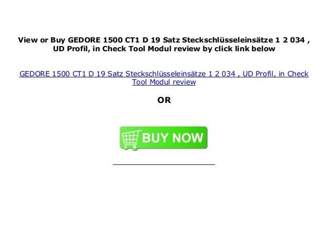 GEDORE 1500 CT1-D 19 Satz Steckschl/üsseleins/ätze 1//2 in Check-Tool-Modul UD-Profil