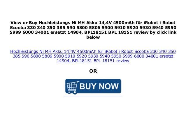 Akku für iRobot i-Robot Scooba 14904 BPL18151 330 340 350 385 590 5800
