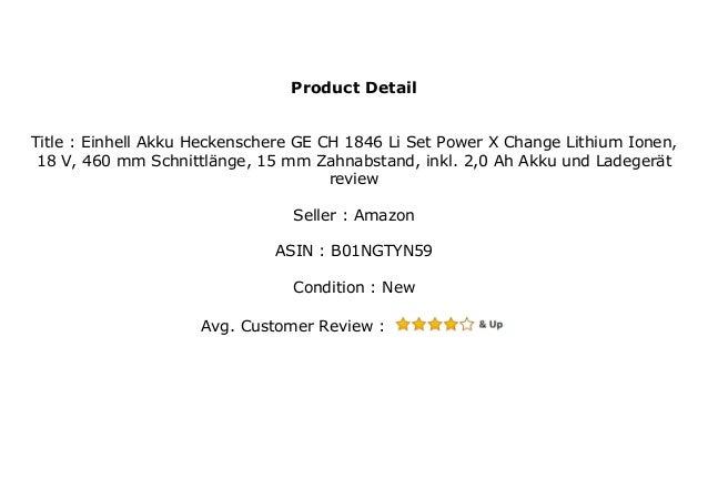 Einhell Akku Heckenschere GE-CH 1846 Li Set Power X-Change Lithium Ionen, 18 V, 460 mm Schnittl/änge, 15 mm Zahnabstand, inkl. 2,0 Ah Akku und Ladeger/ät