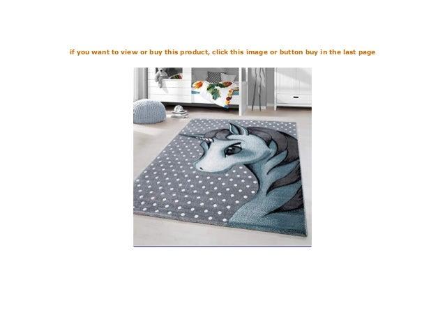 Kinderteppich Kurzflor Einhorn Baby Kinderzimmer Babyzimmer Grau Blue  Meliert