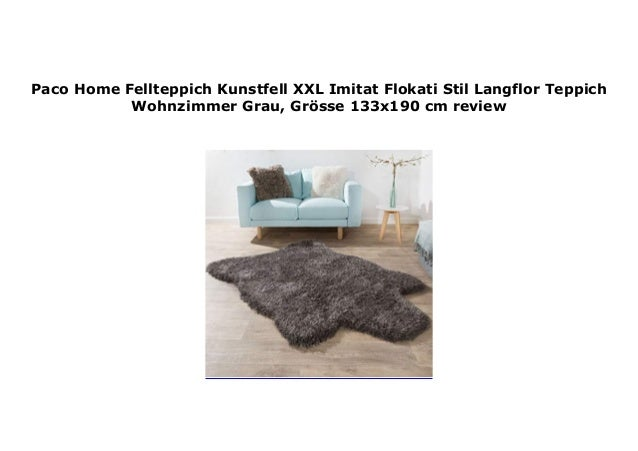 Fellteppich Kunstfell XXL Imitat Flokati Stil  Langflor Teppich Wohnzimmer Grau