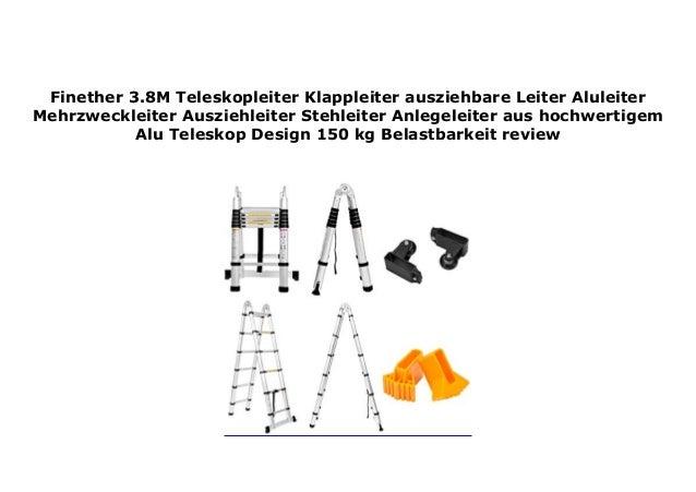 Finether 3.8M Teleskopleiter Klappleiter ausziehbare Leiter Aluleiter Mehrzweckleiter/Ausziehleiter Stehleiter Anlegeleiter aus hochwertigem Alu Teleskop-Design 150 kg Belastbarkeit