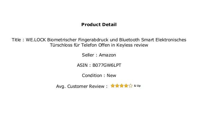 WE.LOCK Biometrischer Fingerabdruck und Bluetooth Smart Elektronisches T/ürschloss f/ür Telefon Offen in Keyless