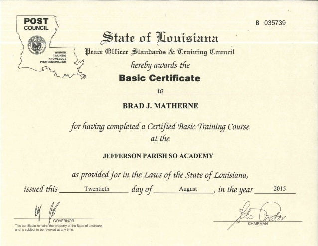 Jefferson Parish SO Academy POST Certificate
