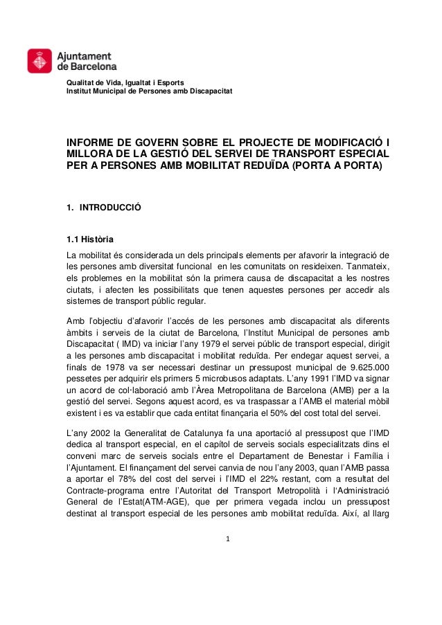 Qualitat de Vida, Igualtat i EsportsInstitut Municipal de Persones amb DiscapacitatINFORME DE GOVERN SOBRE EL PROJECTE DE ...