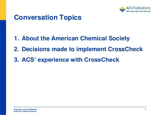 Anne Coghill: American Chemical Society Publications And CrossCheck