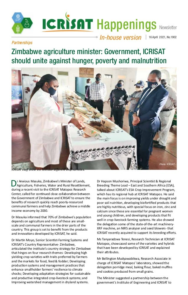 Newsletter Happenings In-house version 16 April 2021, No.1902 Partnerships Zimbabwe agriculture minister: Government, ICRI...