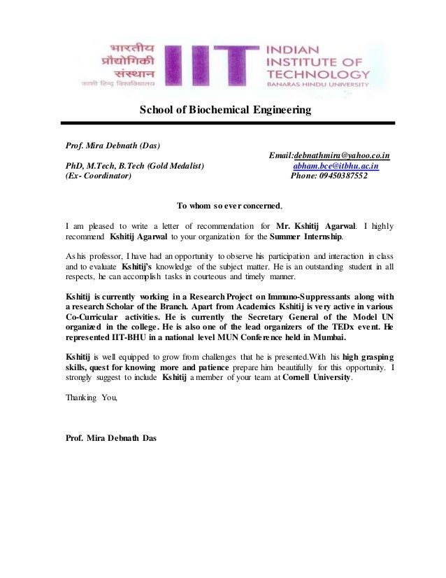 Recommendation Letter of Prof Ms.Mira Debnath Das