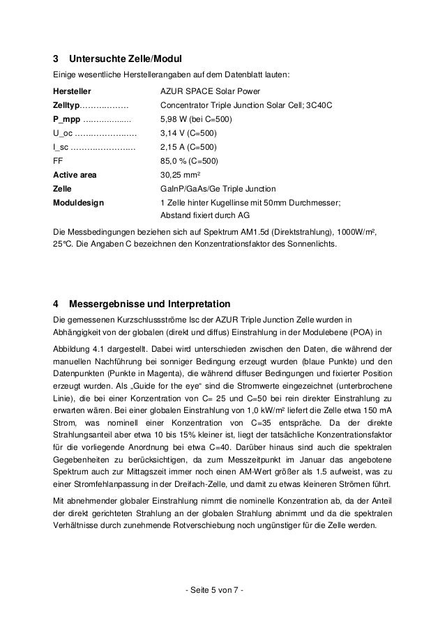 Abbildung 4.1: Abhängigkeit des Kurzschlussstroms von der globalen Einstrahlung Abbildung 4.2: Stark vergrößerter Ausschni...
