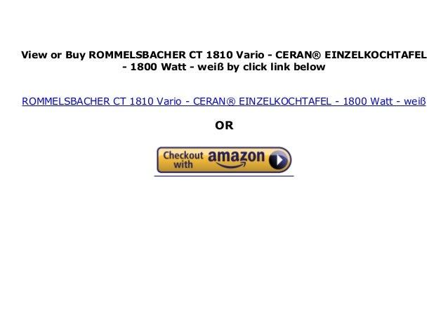 1800 Watt CERAN/® EINZELKOCHTAFEL wei/ß ROMMELSBACHER CT 1810 Vario