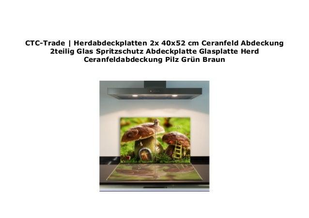 Ceranfeldabdeckung 80x52 cm Pilzen Blau Herdabdeckplatten Spritzschutz Glas Deko