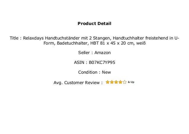 Badetuchhalter wei/ß Relaxdays Handtuchst/änder mit 2 Stangen HBT 81 x 45 x 20 cm Handtuchhalter freistehend in U-Form