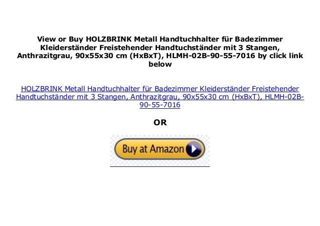 HOLZBRINK Metall Handtuchhalter f/ür Badezimmer Kleiderst/änder Freistehender Handtuchst/änder mit 2 Stangen HxBxT Tiefschwarz 90x70x20 cm HLMH-01-90-70-9005