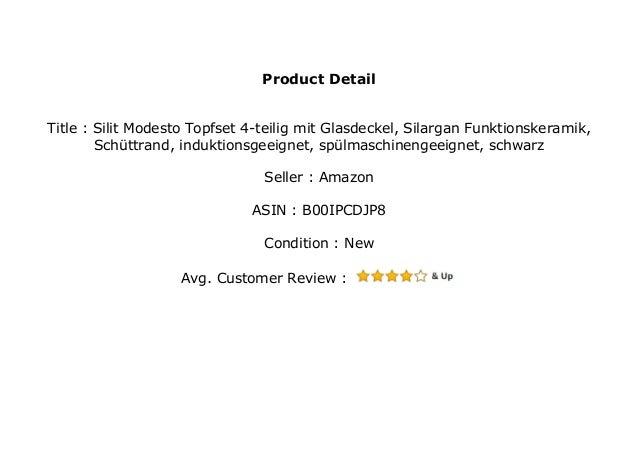 Silargan Funktionskeramik Silit Modesto Topfset schwarz 3-teilig Glasdeckel Sch/üttrand induktionsgeeignet sp/ülmaschinengeeignet
