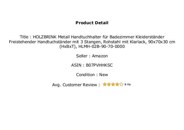 HxBxT HLMH-01-90-60-9005 90x60x20 cm Tiefschwarz HOLZBRINK Metall Handtuchhalter f/ür Badezimmer Kleiderst/änder Freistehender Handtuchst/änder mit 2 Stangen