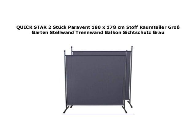 Quick-Star Paravent 180 x 178 cm Stoff Raumteiler Garten Balkon Sichtschutz