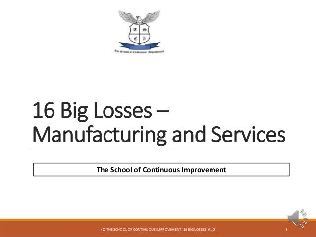 16 Big Losses – Manufacturing and Services 1 The School of Continuous Improvement (C) THE SCHOOL OF CONTINUOUS IMPROVEMENT...
