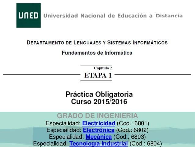 GRADO DE INGENIERIA Especialidad: Electricidad (Cod.: 6801) Especialidad: Electrónica (Cod.: 6802) Especialidad: Mecánica ...
