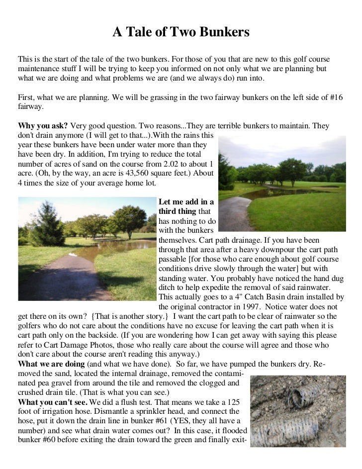 A Tale of Two BunkersThis is the start of the tale of the two bunkers. For those of you that are new to this golf coursema...