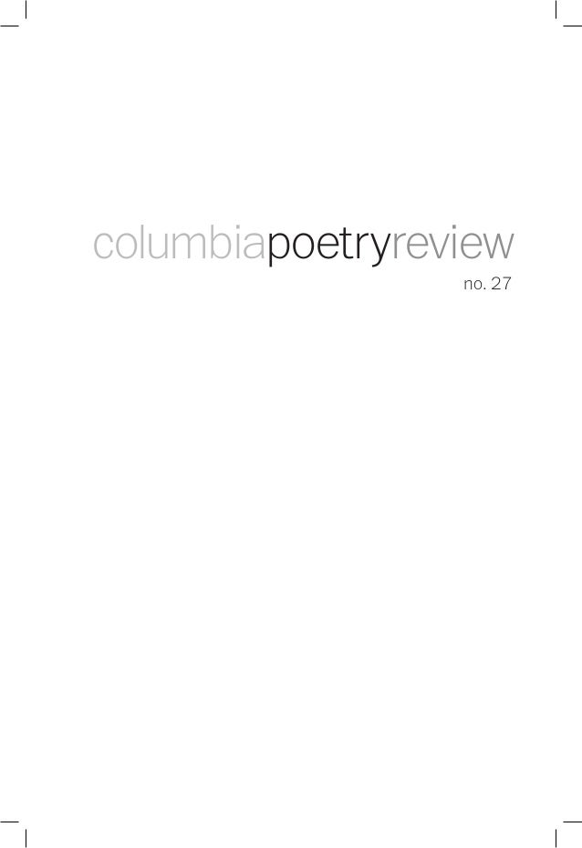 no. 27 columbiapoetryreview
