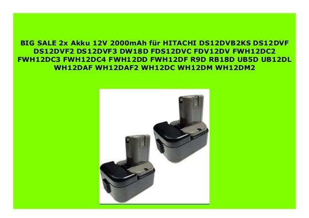 2x Akku 12V HITACHI DS-12-DVF-3 DW-18-D FDS-12-DVC FDV-12-DV FWH12DC2 FWH12DC3 2