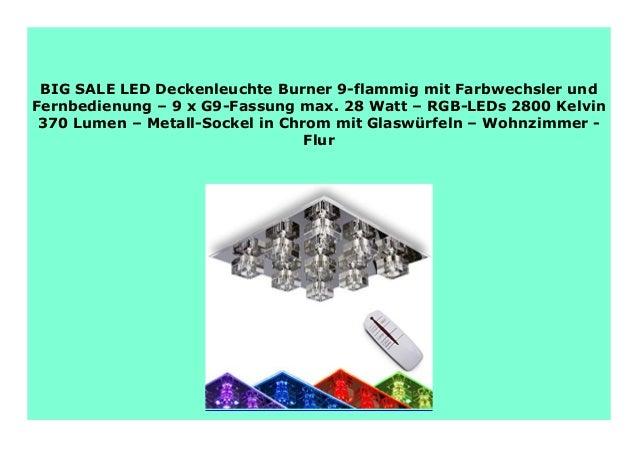 9 flammig LED Deckenleuchte Stahl Glas