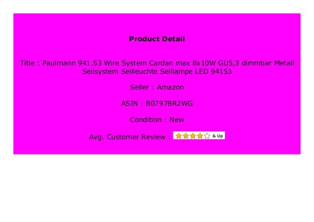 Big Sale Paulmann 941 53 Wire System Cardan Max 8x10w Gu5 3