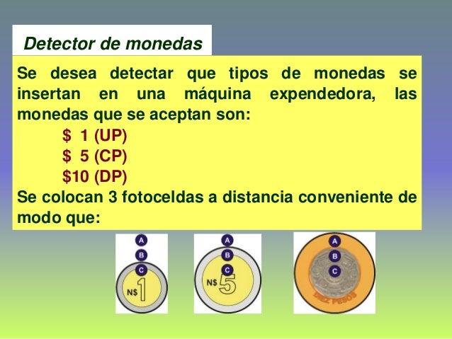 Detector de monedas Se desea detectar que tipos de monedas se insertan en una máquina expendedora, las monedas que se acep...