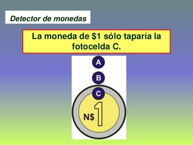 La moneda de $1 sólo taparía la fotocelda C. Detector de monedas