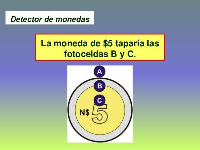 La moneda de $5 taparía las fotoceldas B y C. Detector de monedas
