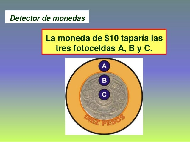 La moneda de $10 taparía las tres fotoceldas A, B y C. Detector de monedas