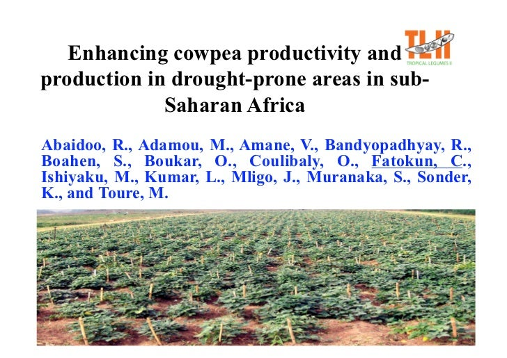 Enhancing cowpea productivity and production in drought-prone areas in sub-              Saharan Africa Abaidoo, R., Adamo...