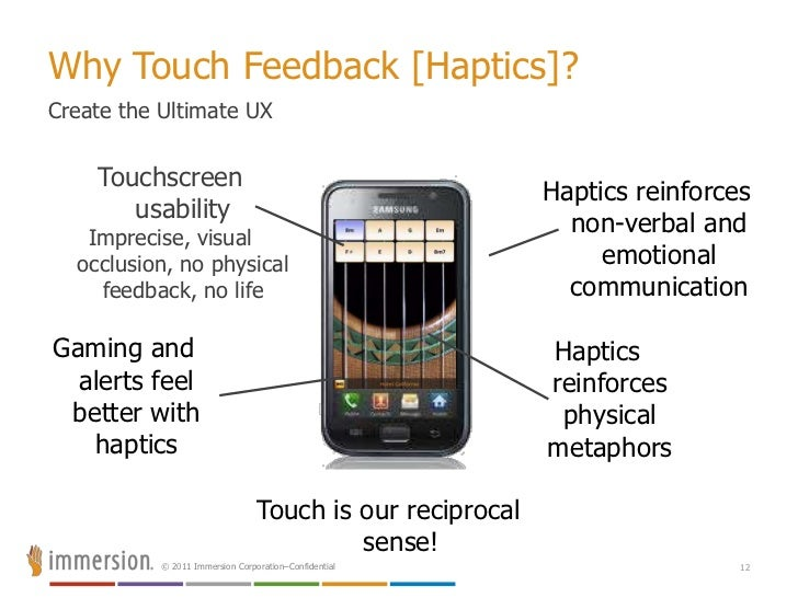 """""""Touch is our reciprocal channel…""""Must Add Touch Feedback to Touch Sensors<br />Add haptics to Natural Gesture<br />8<b..."""