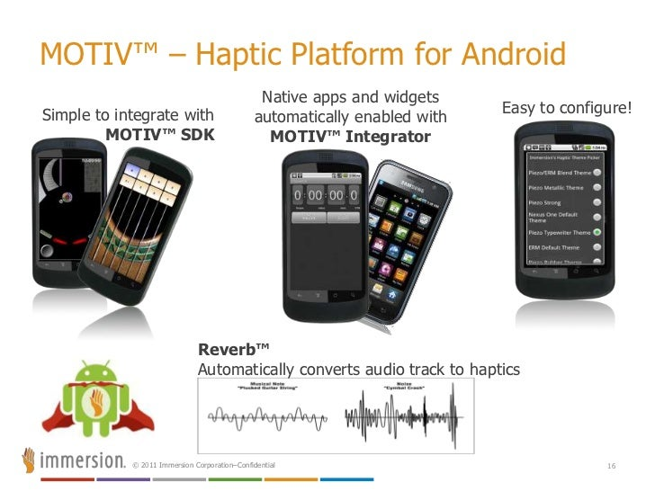 Why Touch Feedback [Haptics]?<br />12<br />Create the Ultimate UX<br />Touchscreen usability<br />Imprecise, visual occlus...
