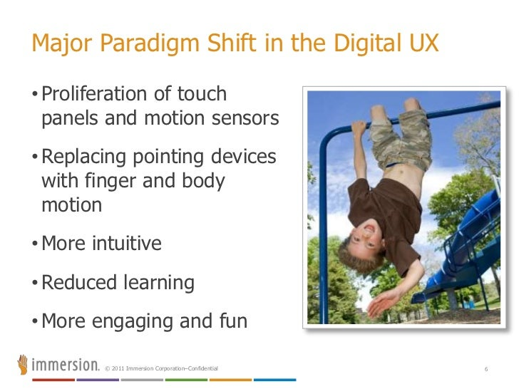 Major Paradigm Shift in the Digital UX<br /><ul><li>Proliferation of touch panels and motion sensors