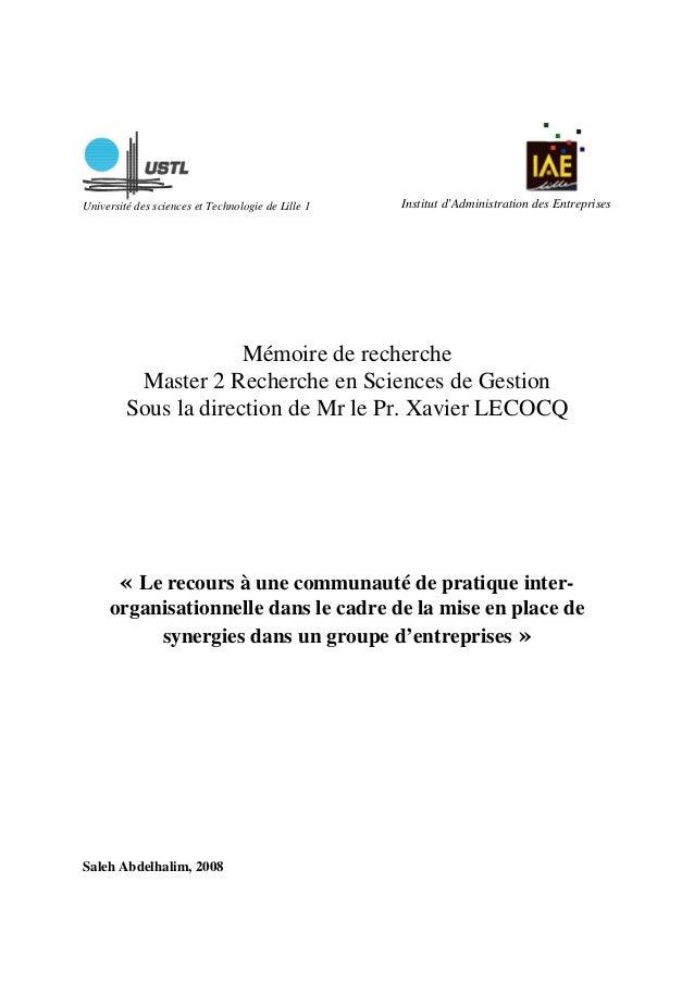 Université des sciences et Technologie de Lille 1 Institut d'Administration des Entreprises Mémoire de recherche Master 2 ...