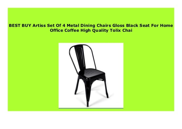 Big Sale Artiss Set Of 4 Metal Dining Chairs Gloss Black Seat For Ho