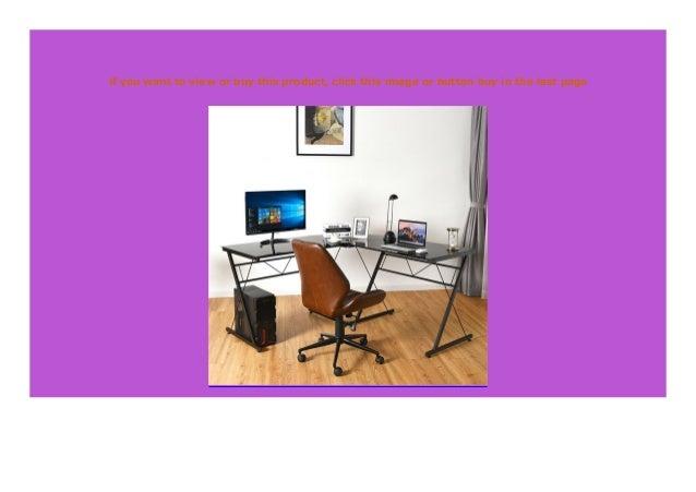 Big Sale L Shape Computer Desk Tempered Glass Laptop Table Home Offi
