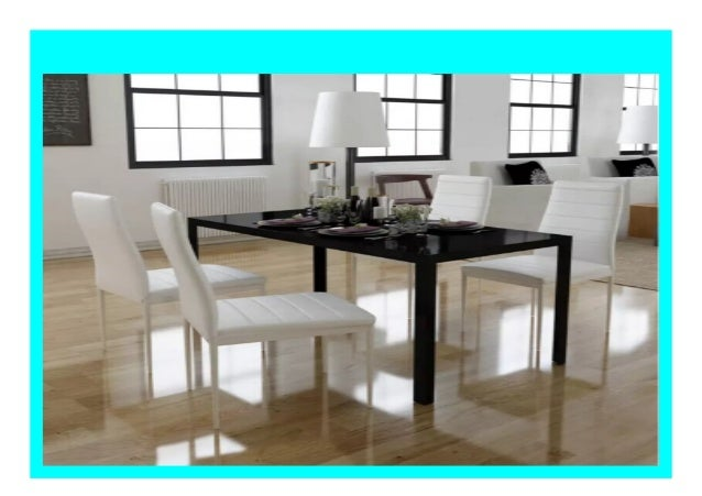 Big Sale Vidaxl 5 Pcs Dining Table Set Black And White Tempered Glas