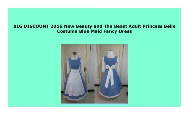 Adult Princess Belle Costume Beauty and The Beast Blue Maid Fancy Cosplay Dress