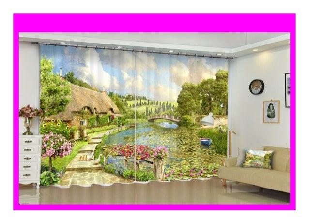 Discount Customized Beautiful Scenery Luxury 3d Blackout Window Curt