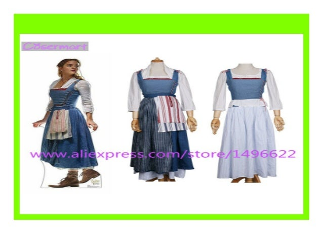 New 2017 Movie Beauty And The Beast Dress Maid Belle Costume Cosplay