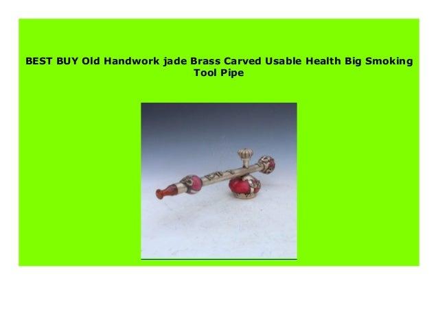 Old Handwork jade /& Brass Carved Usable Health Big Smoking Tool Pipe