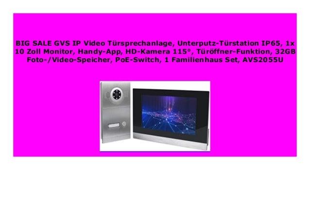 RFID GVS 4-Draht//IP Video T/ürsprechanlage AVS5033U Fingerprint T/ür/öffnerfkt App 32GB Speicher 3X 7 Zoll Monitor HD-Kamera 120/° Unterputz-T/ürstation IP65 PoE-Switch 3 Familienhaus Set