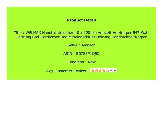 WELMAX Handtuchtrockner 60 x 180 cm Antrazit Heizk/örper 998Watt Leistung Bad-Heizk/örper Bad Mittelanschluss Heizung Handtuchheizk/örper
