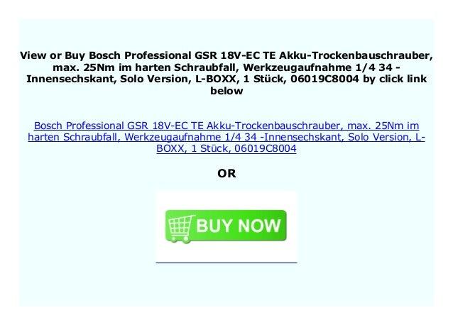 Solo Version L-BOXX Bosch Akku-Trockenbauschrauber GSR 18 V-EC TE