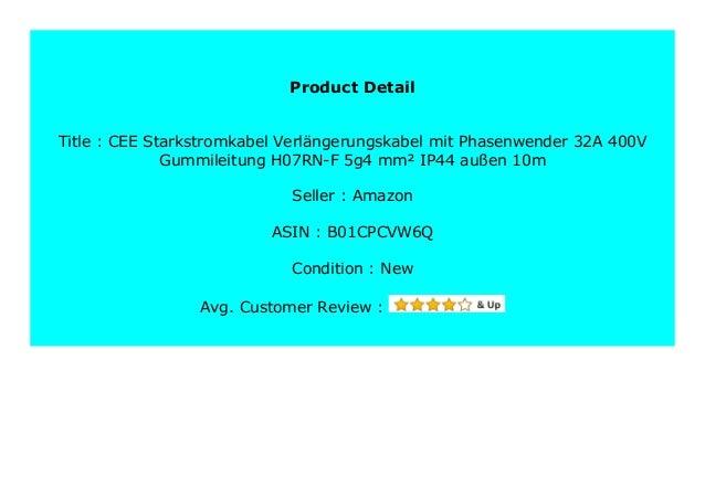 CEE Starkstromkabel Verl/ängerungskabel 32A 400V Gummileitung H07RN-F 5g4 mm/² IP44 au/ßen 20m