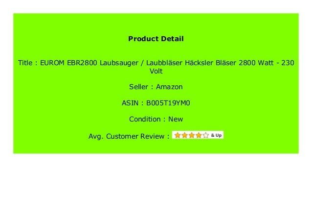 230 Volt Laubbl/äser H/äcksler Bl/äser 2800 Watt EUROM EBR2800 Laubsauger